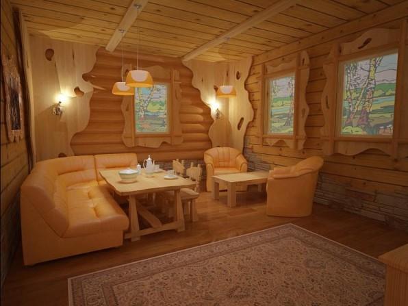 Интерьер сауны и комнаты отдыха